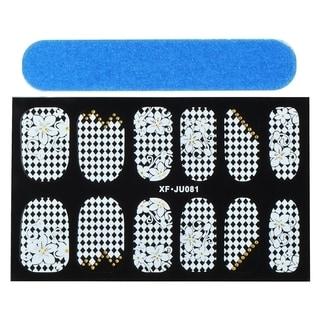 Zodaca Flower and Checker Nail Art Design Idea Stickers Lace Design 3.9x2.4-inch