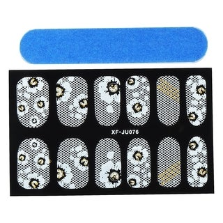 Zodaca Black Flower Nail Art Design Idea Stickers Lace Design 3.9x2.4-inch