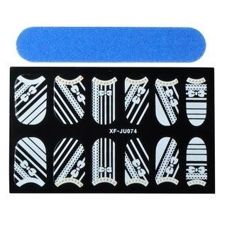 Zodaca Ribbon Nail Art Design Idea Stickers Lace Design 3.9x2.4-inch