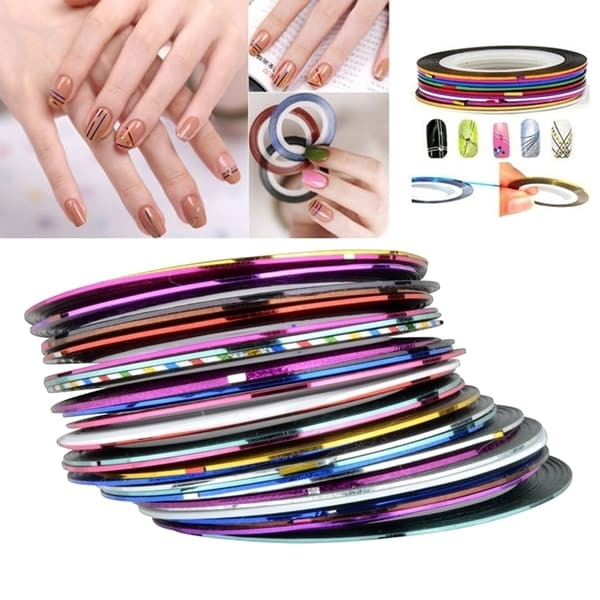 Nail Striping Tape Walmart: Zodaca Mixed Multi Color Tape Line Nail Art Design Idea