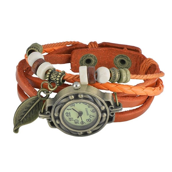 Zodaca Fashion Multi-string Bohemian Leather Bracelet Leaf Watches