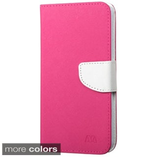 INSTEN Hot Pink/ White Leather Fabric Folio Wallet Phone Case Cover with Stand/ Card Slot For Samsung Galaxy Note 4