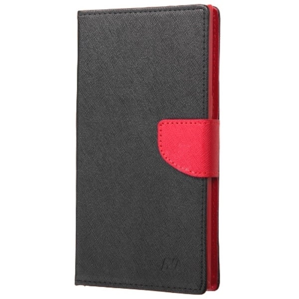 INSTEN Black/ Red Leather Fabric Folio Wallet Phone Case Cover with Stand/ Card Slot For ZTE ZMax