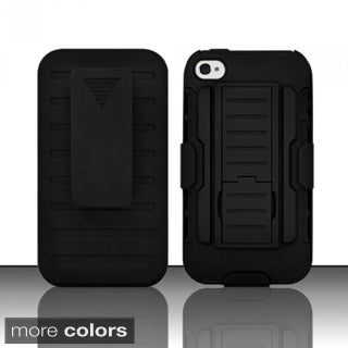INSTEN Black Car Armor Soft Silicone Hybrid Hard Plastic Rubberized Matte Phone Case Cover with Holster For Apple iPhone 4/ 4S