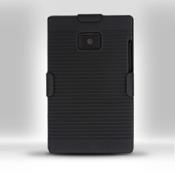 INSTEN Black Soft Silicone Hybrid Phone Case Cover with Holster For LG Dynamic L38c/ Optimus L3 E400/ Logic L35g/ Zone VS410PP