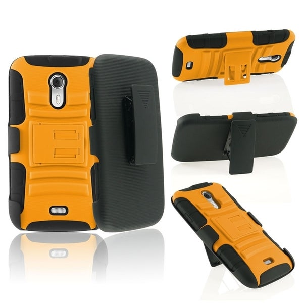 INSTEN Orange/ Black Advanced Armor Soft Silicone Hybrid Plastic Phone Case Cover with Stand/ Holster For BLU Studio 5