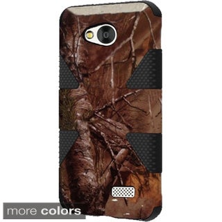 INSTEN Brown/ Black Camouflage Dynamic Soft Silicone Hybrid Hard Plastic Rubberized Matte Phone Case Cover For LG Optimus F60