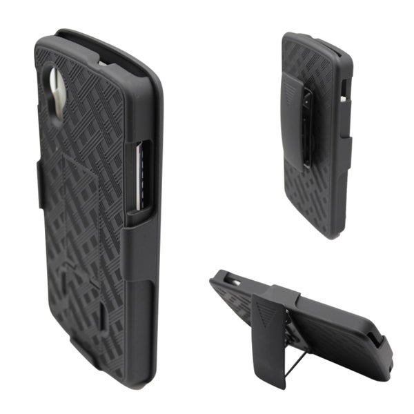 INSTEN Black Weave Plastic Phone Case Cover with Stand/ Holster For LG Nexus 5 D820/ D821