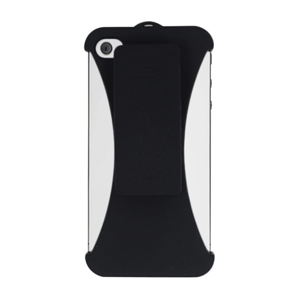INSTEN Black Hard Plastic Rubberized Matte Phone Case Cover With Holster For Apple iPhone 4/ 4S
