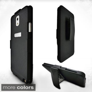 INSTEN Black Hard Plastic Rubberized Matte Phone Case Cover with Holster For Samsung Galaxy Note 3