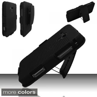 INSTEN Black Hard Plastic Rubberized Matte Phone Case Cover with Holster For Samsung Galaxy Rush