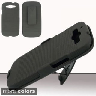 INSTEN Black Hard Plastic Rubberized Matte Phone Case Cover with Holster For Samsung Galaxy S3 GT-i9300