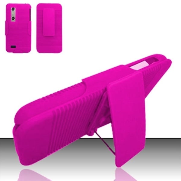 INSTEN Plain Hard Plastic Rubberized Matte Phone Case Cover with Holster For LG Thrill 4G P925