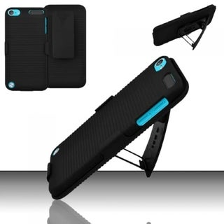 INSTEN Black Hard Plastic Rubberized Matte iPod Case Cover with Holster For Apple iPod Touch 5th Generation