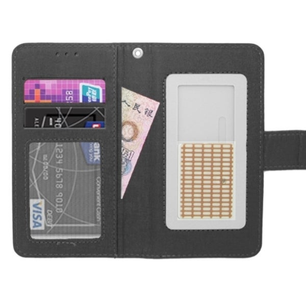 INSTEN Black Universal Leather Slide-up Wallet Flip Folio Phone Case Cover With Card slot/ Photo Display For 5-inch