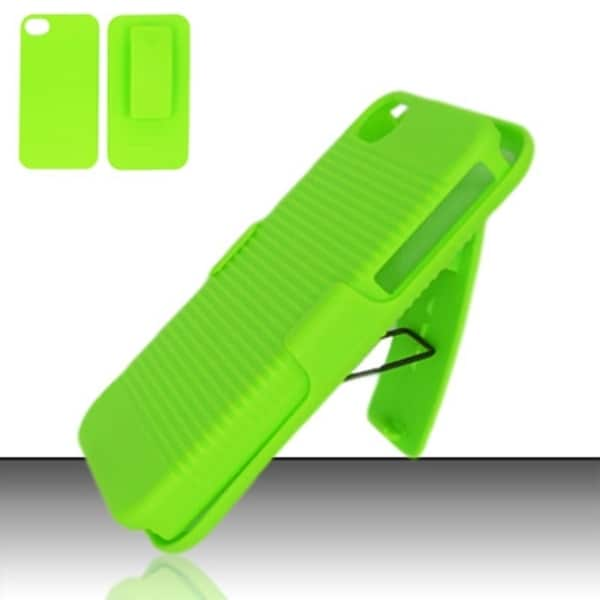 INSTEN Hard Plastic Rubberized Matte Phone Case Cover with Holster For Apple iPhone 4/ 4S