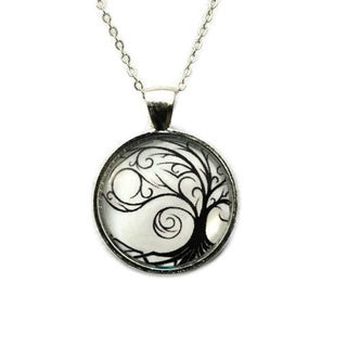 Atkinson Creations Black 'Tree of Life' Silouette on Whte Background Silver Glass Dome Pendiant Necklace