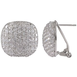 Sterling Silver Cubic Zirconia Rounded Square Dome Pave Stud Earrings