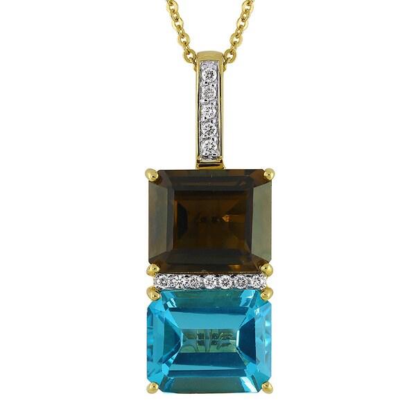 14k Yellow Gold 1/6ct TDW Diamond Blue Topaz and Smokey Quartz Necklace (H-I, SI1-SI2) 14718971