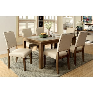 Furniture of America Veronte 7-Piece Stone Top Dining Set
