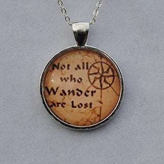 Atkinson Creations 'Not All Who Wander' Glass Dome Pendant Necklace