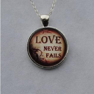 Atkinson Creations 'Love Never Fails' Glass Dome Pendant Necklace