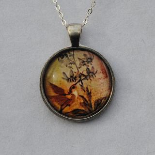 Atkinson Creations Hummingbird Afternoon Glass Dome Pendant Necklace