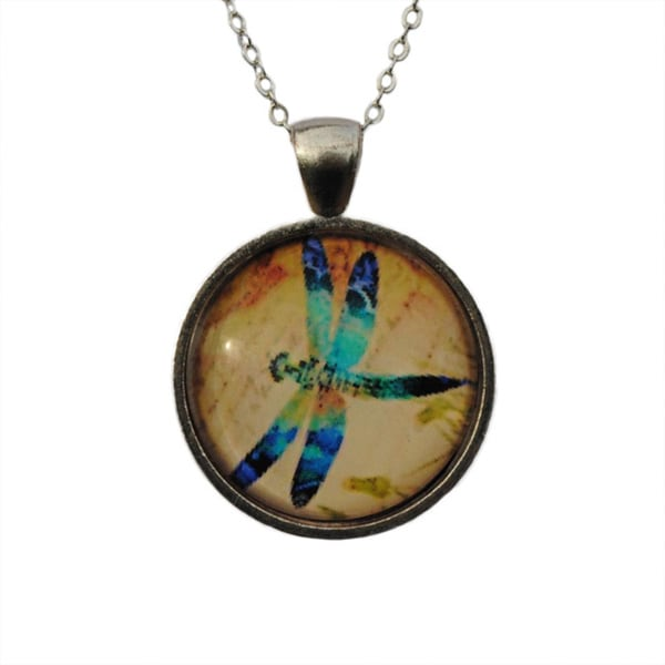 Atkinson Creations Dragonfly Glass Dome Pendant Necklace