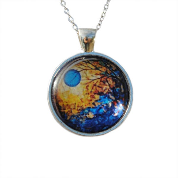 Atkinson Creations Blue Moon Rising Glass Dome Pendant Necklace