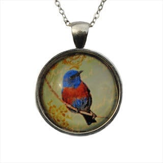 Atkinson Creations Bluebird Glass Dome Pendant Necklace