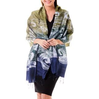 Handcrafted 'Ocean Cliff' Batik Silk Shawl (Thailand)