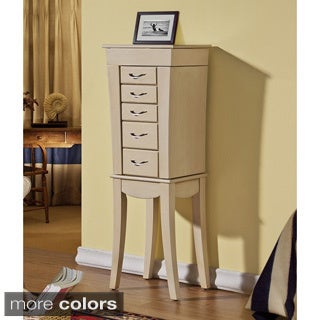 Wooden 5-drawer Jewelry Armoire with Mirro
