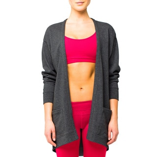 Lija Women's Black Heather Throw Over Cardigan