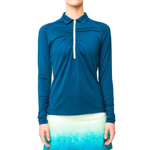Lija Women's Blue Abyss Gathered Long Sleeve 1/4 Zip Jacket