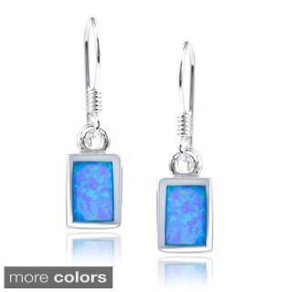 Journee Collection Sterling Silver Opal Rectangle Dangle Earrings