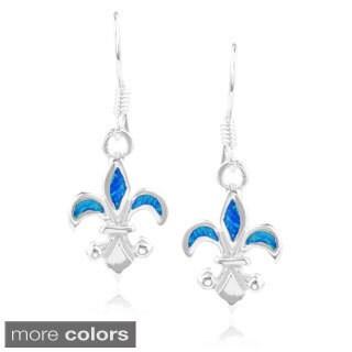 Journee Collection Sterling Silver Opal Fleur-de-lis Dangle Earrings