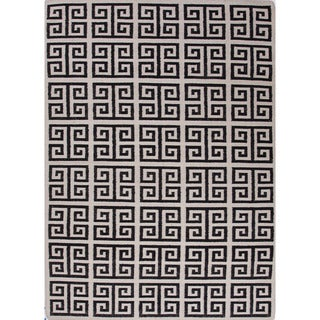 Indo Flat Weave Greek Key Geometric White/ Black Wool Area Rug (3'6 x 5'6)