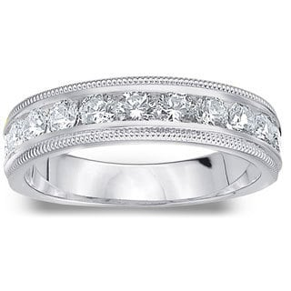 Amore Platinum 1ct TDW Diamond Milgrain Wedding Band (G-H, SI1-SI2)