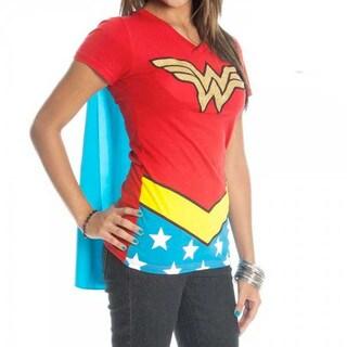 Women's Wonder Woman Caped Cotton V-neck T-shirt