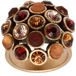 Gold over Silver Multi-color Bezel-set Gemstone Ring (Size 6.5)