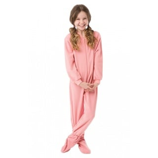 Youth Drop Seat Pink Fleece Footed Pajamas