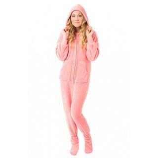 Women's Pink Plush Hooded Drop Seat Footed Pajamas