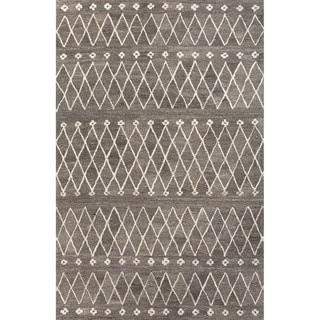 Hand Tufted Geometric Pattern Grey/ White Wool Area Rug (8' x 10')
