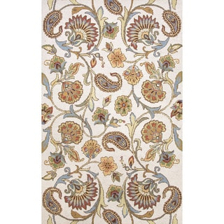 Indo Hand-tufted Floral Ivory/ Blue Wool Area Rug (3'6 x 5'6)