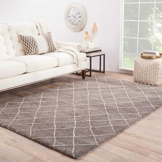 Hand Tufted Geometric Pattern Grey/ White Wool Area Rug (4' x 6')