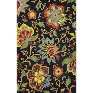 Indo Hand-tufted Black/ Multi-colored Floral Wool Area Rug (2' x 3')