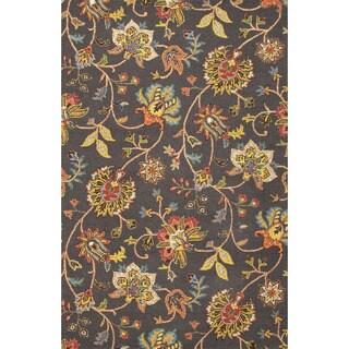 Hand Tufted Floral Pattern Grey/ Multi Wool Area Rug (3'6 x 5'6)
