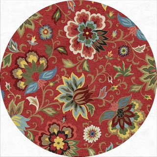 Indo Hand-tufted Red/ Blue Floral Wool Area Rug (8' Round)