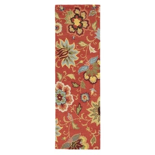 Hand Tufted Floral Pattern Red/ Blue Wool Area Rug (2'6 x 8')