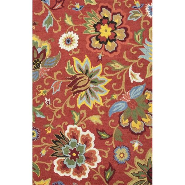 Safavieh Handpicked Hacienda Argentinian Zebra Print: Hand Tufted Floral Pattern Red/ Blue Wool Area Rug (3'6 X